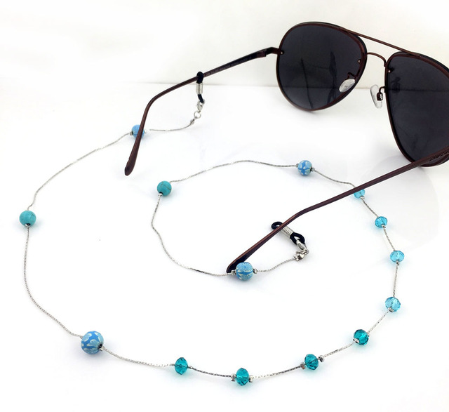 GL223 10PCS/Lot!Free Shipping Handamde Beaded Crystal Metal Acrylic Chain Ball Fashion Eyeglasses Jewelry