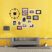 Big Sale Modern DIY Home Decor Office Wall Hanging Display Picture Photo Frames Set With Clock and Wall Sticker House Decor(China (Mainland))