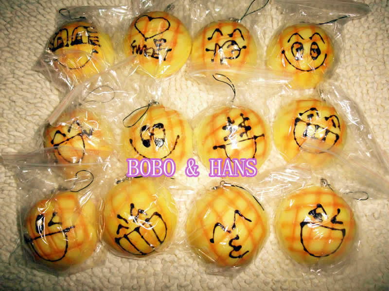 New Cute funny face Pineapple bun 7cm squishy charm / PU mobile phone strap / Wholesale(China (Mainland))