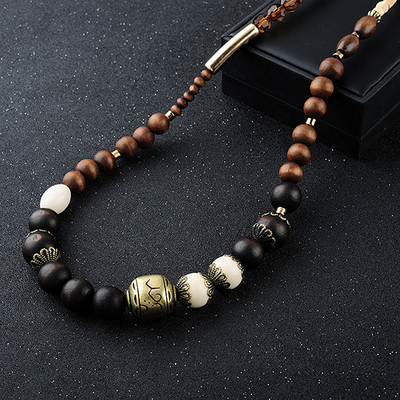 2016 New Design Long Wood Beads Necklaces For Women Beaded Vintage Necklace Turkish Jewelry Big Chain Necklace Bijoux Women N039(China (Mainland))