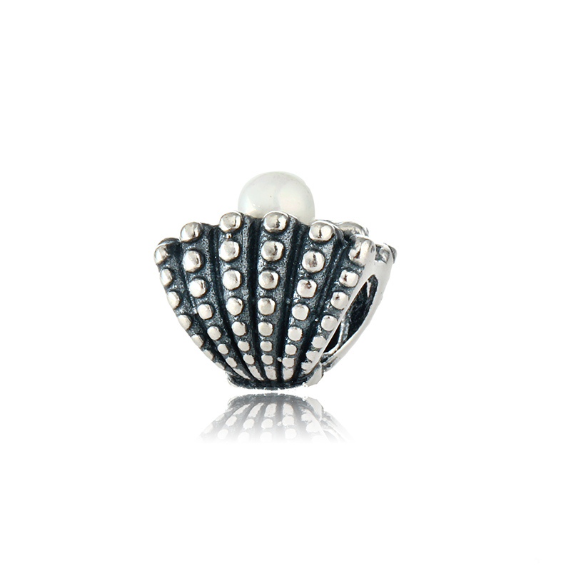 Pearl Shell 100% 925 Sterling Silver Threaded Charm Beads DIY Bracelets Jewelry Making Fits European Style Bracelets Bangles(China (Mainland))
