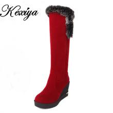 Tamaño grande 30-50 Moda caliente Del Invierno de Las Mujeres zapatos de Plataforma Tacones Altos Cuñas Flock + pelo de Conejo de nieve botas HQW-FC-1(China (Mainland))