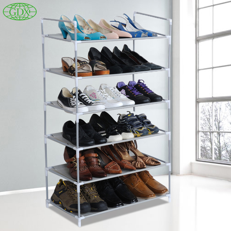 GDX Free Shipping 6 Layers 18 Pairs Assembled Non-woven Fabric Shoes Cabinet Waterproof Shoe lockers Racks Shelf for Living Room(China (Mainland))