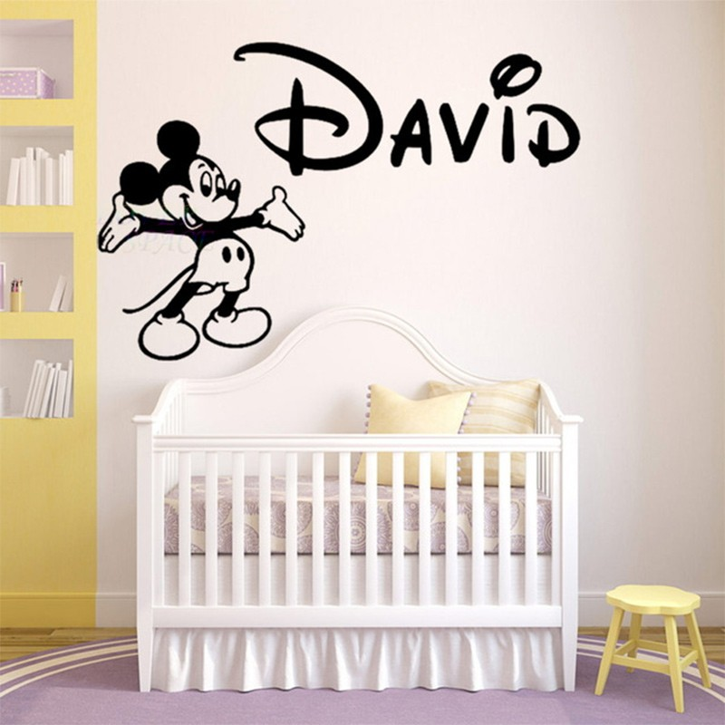 Personalized Name Walt Mickey Mouse Custom Wall Decal Vinyl Sticker Decor Children Baby Nursery KIDS Room Wall Stickers Home Art(China (Mainland))