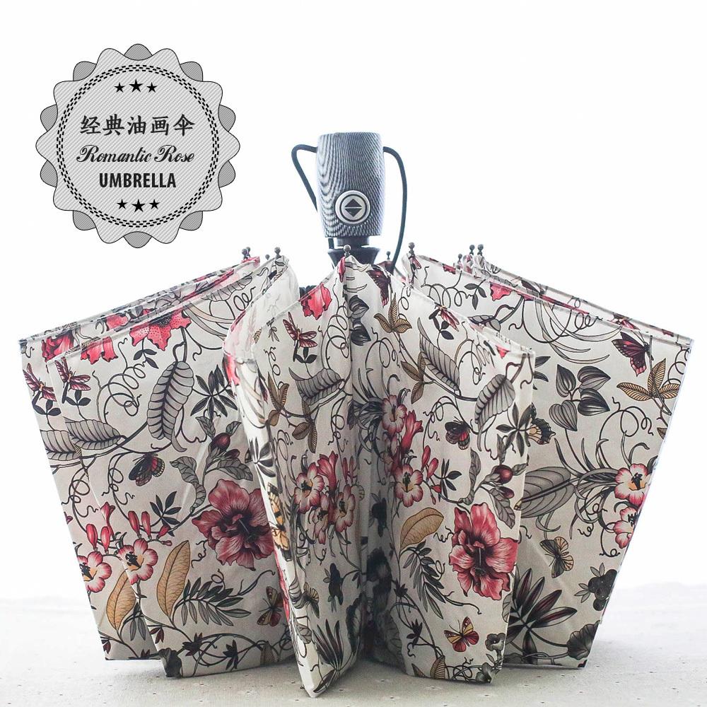 Rose oil painting creative 10 big umbrella bone surface three fold automatic uv wind ms umbrella brand  Free shipping