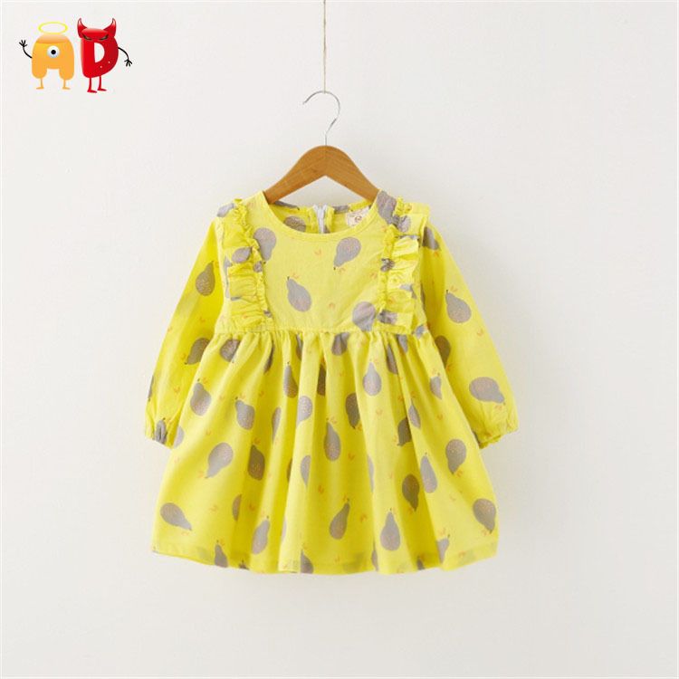 AD 6pcs/lot Cute Ruffled Girls Dress Pear Pattern Cool Fabric Summer Style Baby Girl Dresses Childrens Clothing Clothes vestios<br><br>Aliexpress