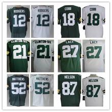 12 Aaron Rodgers 18 Randall Cobb 21 Ha Ha Clinton-Dix 27 Eddie Lacy 52 Clay Matthews 56 Peppers 87 Jordy Nelson Elite jersey(China (Mainland))