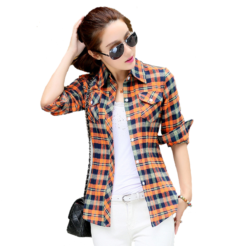 2015 brand new fashion flannel plaid shirt women casual for Women s slim fit flannel shirt