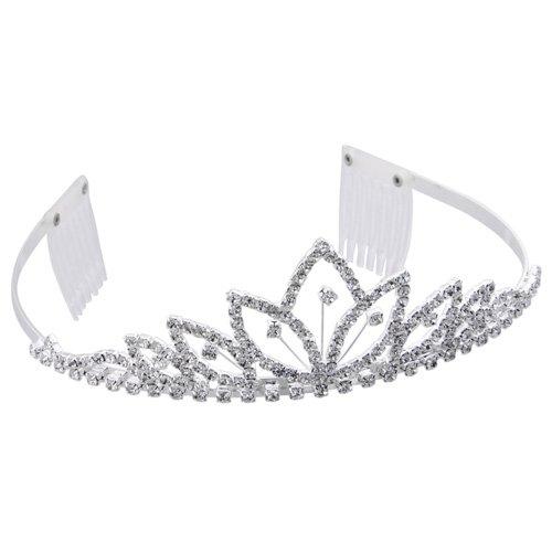 Silver Plated Crystal Rhinestone Tiara Hair Band + 2 Peine(China (Mainland))