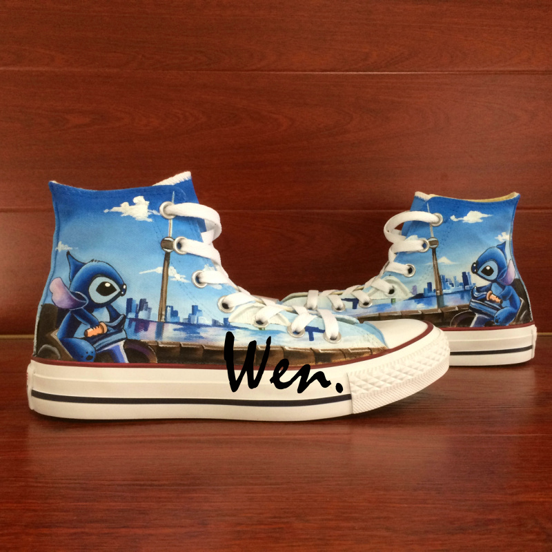 High Top Shoes Toronto Skyline and Lilo Stitch Men Women Hand Painted Canvas Sneakers Art Wen Unique Gifts for Boys Girls(China (Mainland))