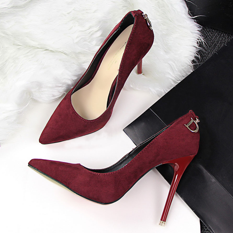 Women Pumps Brand Women Shoes High Heels Ladies Shoes Sexy Pointed Toe Thin Heels Red Black(China (Mainland))