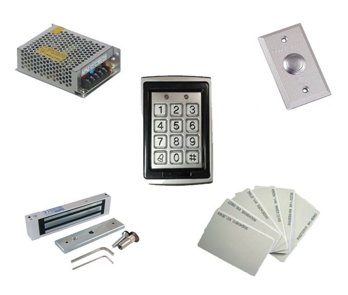 Free shipping ,access control kit ,waterproof access control+power+180kg magnetic  Lock+exit button+10 EM cards,sn:EM-T06<br>