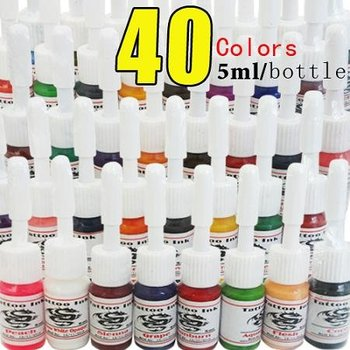 New and High Quality Tattoo Supply 40 Color Ink 5ml/bottle Pigment Complete Set