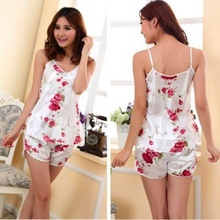 1Set Sexy Flower Sling Sleepwear Braces Shirts + Shorts Underwear Pajamas Robes Home lingerie Dreess Clothing(China (Mainland))