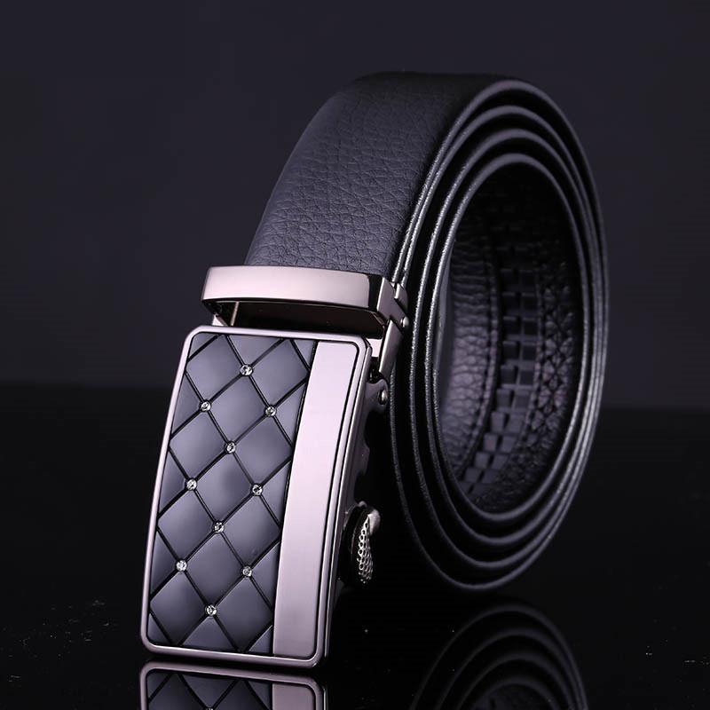 2015 new men's fashion advanced zinc alloy lattice pattern belt buckle automatic buckle belt high-end business men leather belt(China (Mainland))