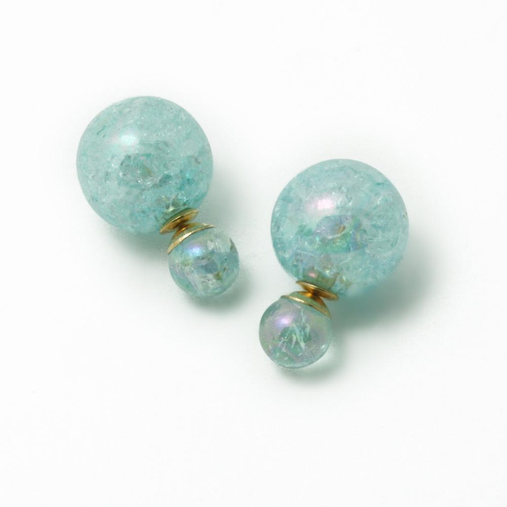 2015 New Fashion Hot Selling Light Blue Earrings Double Side Shining Pearl Stud Earrings Big Pearl Earrings Women DH-JRB384-5<br><br>Aliexpress