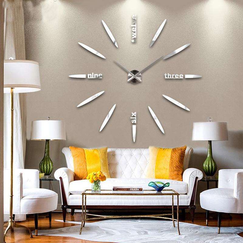 New Wall Clock Living Room DIY 3D Home Decoration Mirror Large Art Design Coo