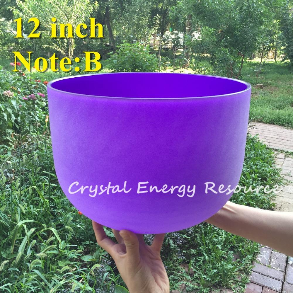 Givré B Note couronne Chakra couleur pourpre cristal de Quartz Singing Bowl 12 polegada(China (Mainland))