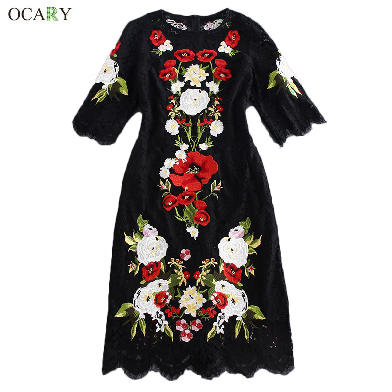 Luxury Women Embroidery Floral Dress Elegant Midi Lace Dress 2016 Spring Fashion Week Runway Dress Casual Shirt Dresses VestidosОдежда и ак�е��уары<br><br><br>Aliexpress
