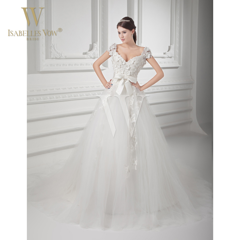 Ball gown wedding dresses white church v neck court train for White dresses for courthouse wedding