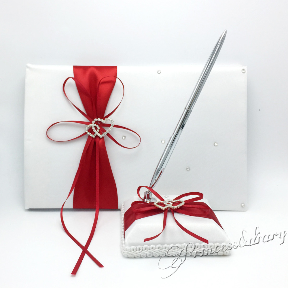2Pcs set RED Satin Guest Book Pen Set Rhinestone Bowknot Pearl decor Wedding Party Products Supply