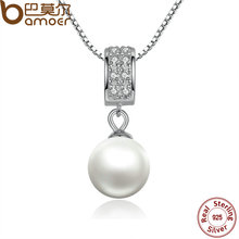Buy BAMOER 925 Sterling Silver Simulated Pearl Pendant Necklace Long Chain Necklace Jewelry Wedding Necklace Accessories SCN030 for $6.99 in AliExpress store
