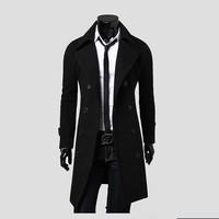 Fashion  Men Slim Designed Jacket Hot Stylish Woolen Jacket Double Breasted Trench Coat black,grey,camel long overcoat drop ship