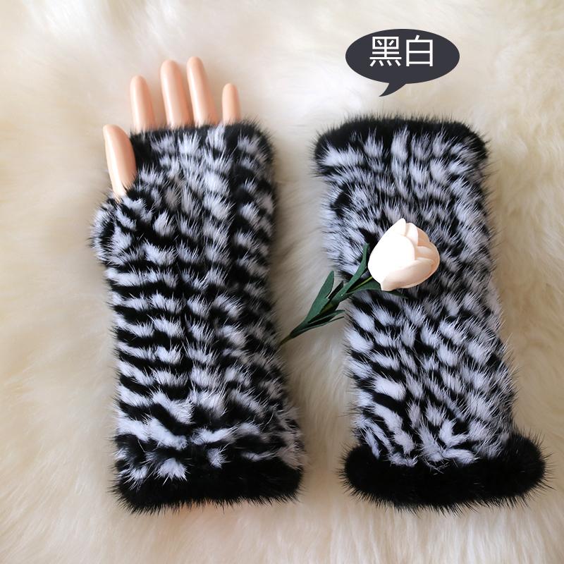 20cm 30cm 40cm 2016 new fashion winter women's 100% real mink fur genuine half gloves luxury woven glove warm lady sleeve