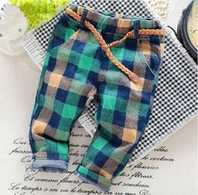 2016 new styles fashion England styles spring and autumn children BOY pants 3-7 years boys pants plaid Kids jeans Elastic waist(China (Mainland))