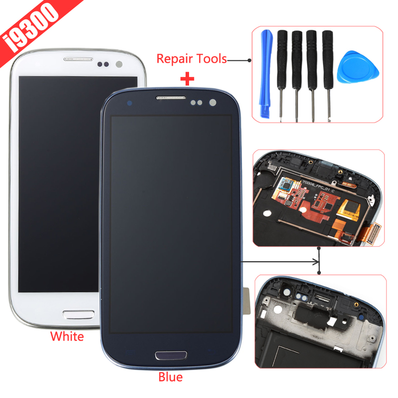 White Black Blue For Samsung Galaxy S3 i9300 LCD Display Touch Screen Digitizer+Frame+Tools Assembly Replacements Part Free Ship(China (Mainland))