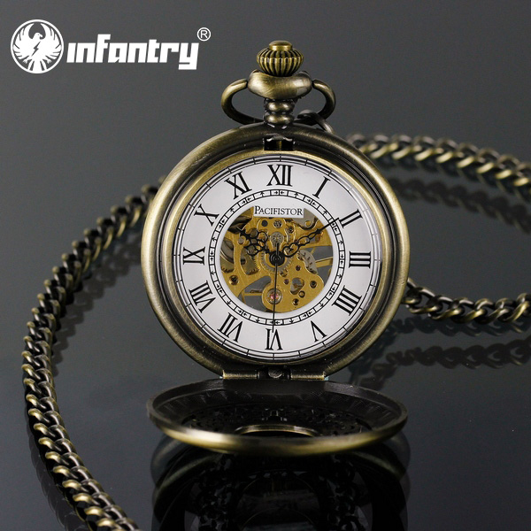 Pacifistor Bronze Mens Mechanical Hand Winding Semi Automatic Steel Chain Pocket Watch Vintage Style Watches(Hong Kong)