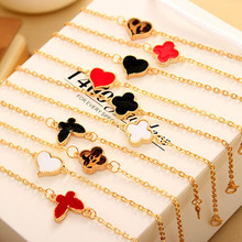 2015 New style Fashion Alloy Gold Plated Heart Chain&Link Drop Glaze Bracelet Bangle For Women OB0188 free shipping(China (Mainland))