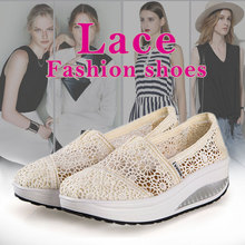 2016 Pink Girl Massage Breathable Lace Real Summer Women's Shoes tenis Fashion For Women Fitness Swing Wedges Light Up Female