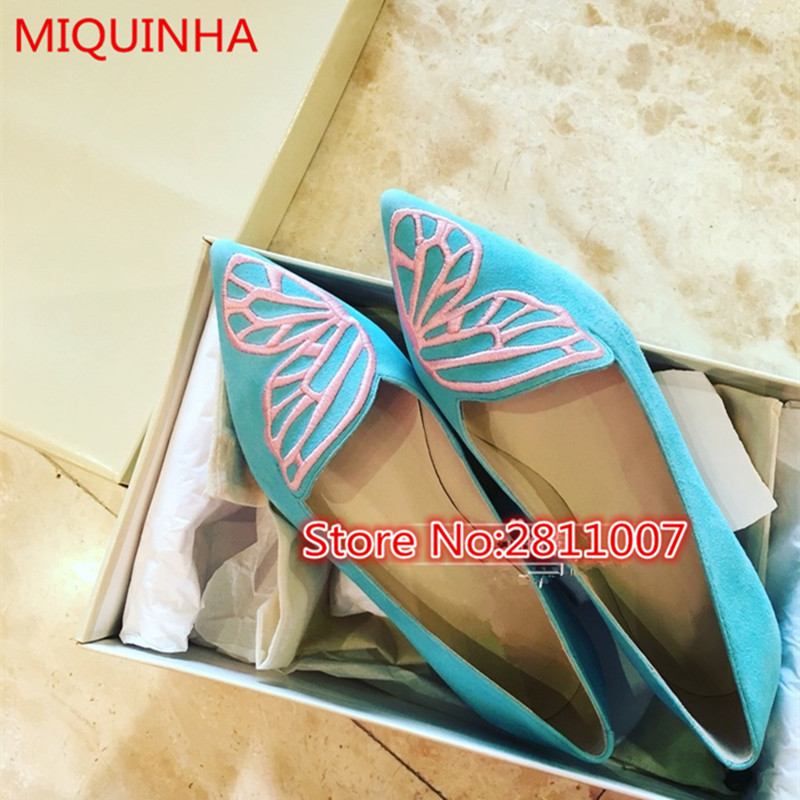 Suede Leather Bibi Butterfly Women Flat Embroidered Angel Wing Pointed Toe Slip On Sapatos Metallic Flat Shoes Party Shoes Woman(China (Mainland))