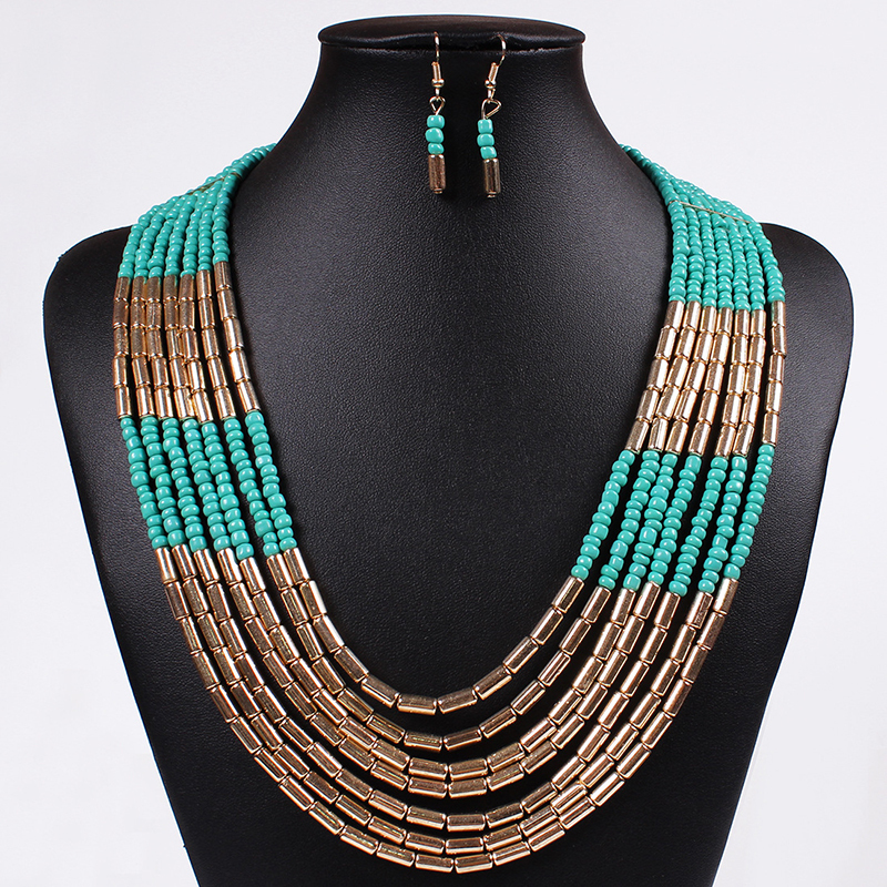 African Beads Jewelry Sets wedding jewelry sets fashionable Gold Plated Pearls Party Gifts - Verynice store