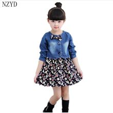 Buy 2017 New Fashion Spring Autumn Girl Two Pieces Suit Children Denim Jacket+Floral Dress Korean Casual Kids Clothes DC233 for $17.08 in AliExpress store