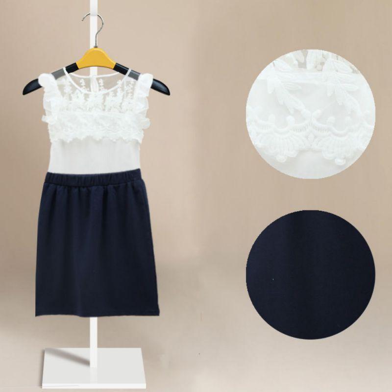 Toddler Girls Clothes Lace Floral Vest Top Shirt + Mini Pencil Skirts - Drop& store