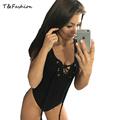 Summer style 2016 sexy hollow out sleeveless black bodysuit Women beach blouse feminina Cotton jumpsuit rompers