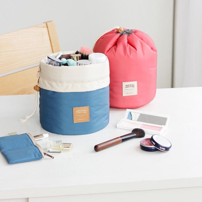 New Multifunction Barrel Cosmetic Bag Portable Large Capacity Travel Storage Bag Men And Women Drawstring Toiletry Kits(China (Mainland))