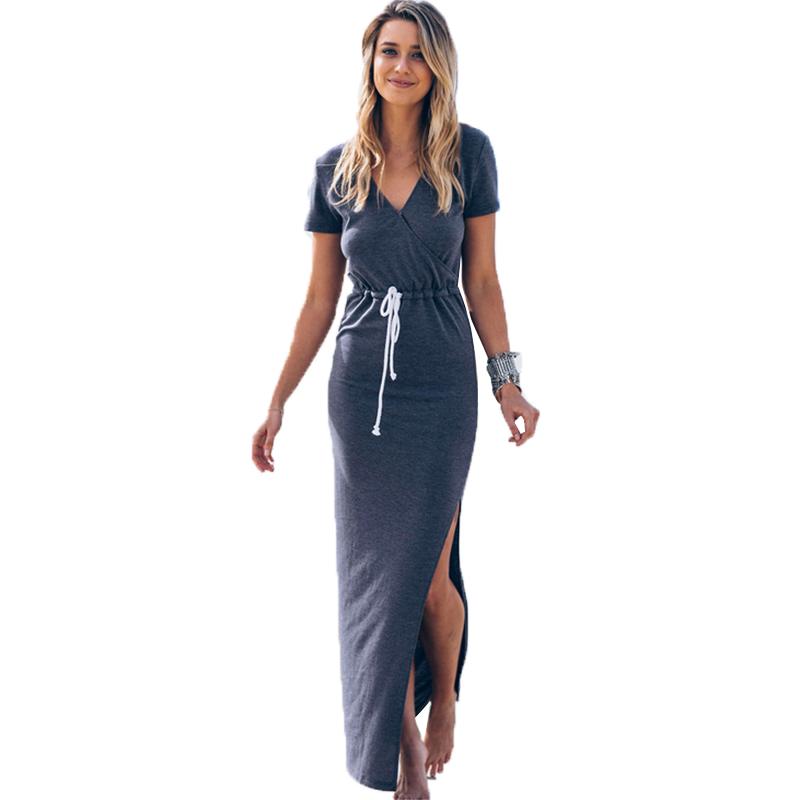 Side Split Maxi Dress Vestidos Casual V neck 2016 Summer Beach Long Dress Short Sleeve Gray Slim Sexy Women Dresses S-XL Ukraine(China (Mainland))