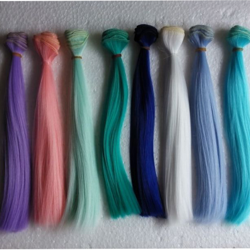10PCS/LOT Wholesale 25*100CM Straight Blue/Green/Pink Wig 1/6 BJD Hair Doll <br><br>Aliexpress