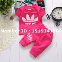 New born Baby's Sets Girls Summer Clothes Short-sleeved T-shirt + Shorts Free Shipping Vestidos Kids Boys Brand Clothing Suits
