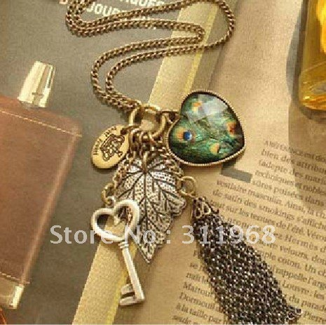 Vintage Peacock Turquoise Pendant Long Necklace Hot Style Fashion Jewelry For Wemen Discount