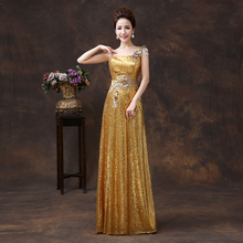 2015 Cheap Sexy Long Peacock Blue Golden Champagne Lace Gold Champagne Sequined Bride Bridal Dress Formal Dress Bridesmaid Dress(China (Mainland))