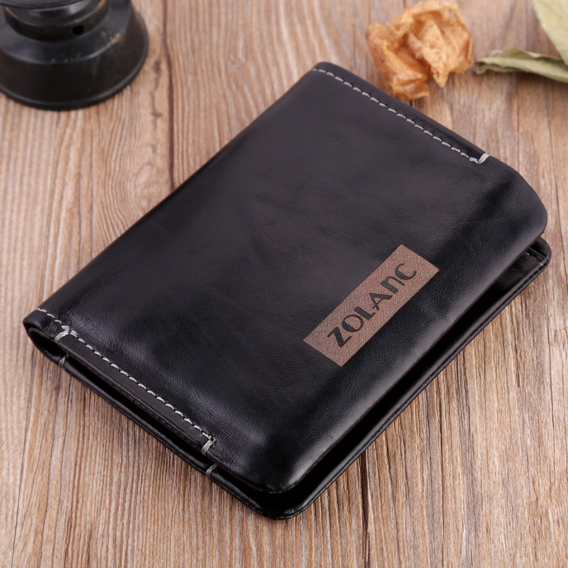 Zolanc 2016 Oil Wax Leather Wallets Fashion Cow Leather Men's Purse High Quality Card Holder Fold Wallets Black Hot(China (Mainland))