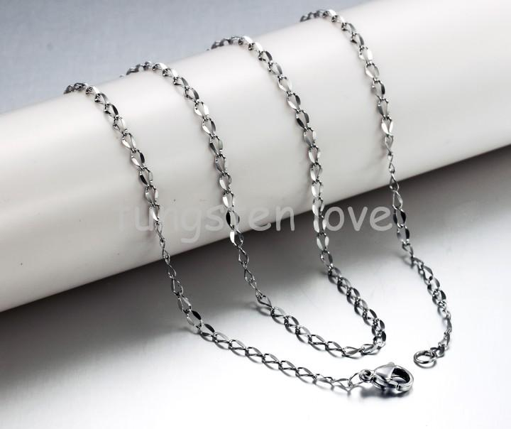 18 inch 2.5mm width New 316L Stainless Steel Twisted Thin Chain Necklace 0.6 MM Thickness Box Chain Necklace(China (Mainland))