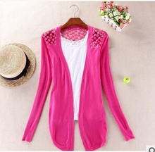 Women Candy Color Irregular Hem Long Sleeve Slim Thin Lace Hollow Out jacket Women Knitted Cardigan Sweater Tops(China (Mainland))