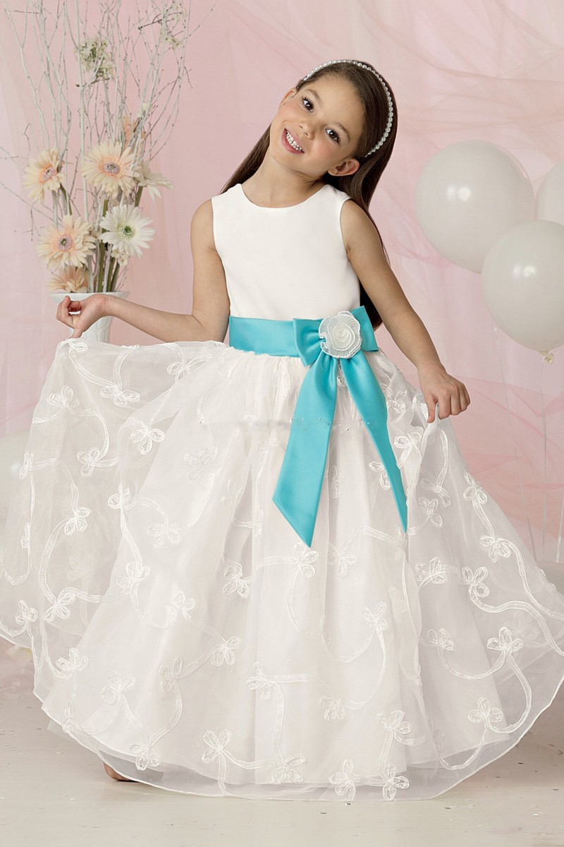 Junior bridesmaid dresses aqua for Flower girls wedding dresses