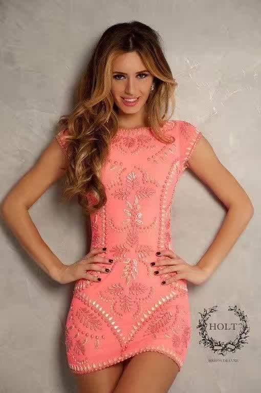 Top Quality Sleeveless Orange Pink Manual Beading Mini Bandage Dress Cute Celebrity Party Dress