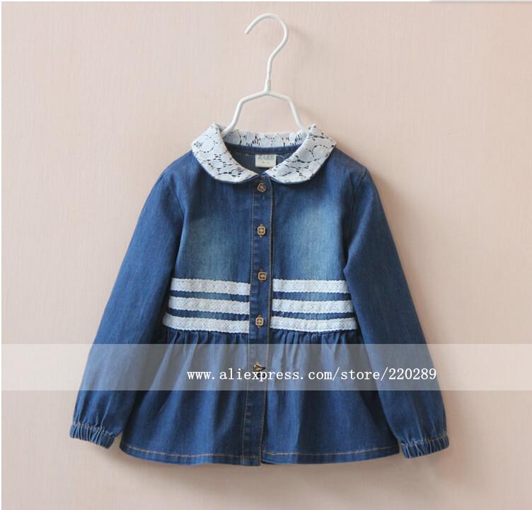 Здесь можно купить  30601043 Wholesale New 2015 Spring Girls Tops Blouses Denim Lace Collar Appliques Lace Full Sleeve Girls Tops Tees Lot  Детские товары